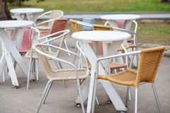 Cafe tables. Focus on first table. Outdoor   a street Stock Images