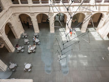 Cafe tables in the Fogg Art Museum courtyard Royalty Free Stock Image