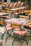 Cafe tables in French city of Lyon, France Stock Image