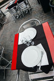 Cafe tables in French city of Lyon, France Royalty Free Stock Image