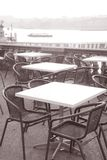 Cafe Tables by Lake Geneva Stock Images