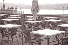 Cafe Tables by Lake Geneva Royalty Free Stock Photography