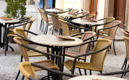 Cafe tables outdoors Royalty Free Stock Photography