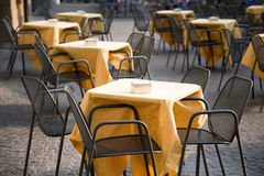 Cafe tables outdoors Stock Image