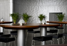 Cafe tables and stools Royalty Free Stock Images