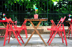 Cafe tables in the street Stock Image