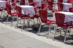 Cafe tables in Venice Stock Photos