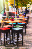 Cafe terrace in autumn city stock photo