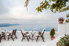 Cafe on the terrace with a beautiful sea view Stock Photography