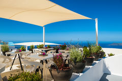 Cafe on the terrace with a beautiful sea view Royalty Free Stock Photos
