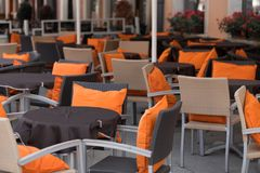Cafe terrace. Early in the morning not served yet Royalty Free Stock Photos