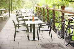 Cafe terrace. European Cafe terrace With Bicycle - Travel Background royalty free stock images