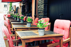 Cafe terrace in European city Stock Photo