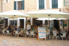Cosy cafe terrace in Fornalutx, Majorca Royalty Free Stock Images