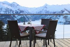 Free Cafe Terrace In The Mountains, And View Of The Hohe Tauern Mountain Range. Austria. Royalty Free Stock Photos - 107742108