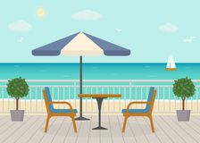Cafe on the terrace near the sea. Sea landscape. Vector illustration Stock Photography