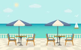 Cafe on the terrace near the sea. Sea landscape. Vector illustration Royalty Free Stock Photos