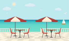 Cafe on the terrace near the sea. Sea landscape. Vector illustration Stock Photo
