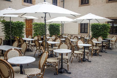 Cafe terrace. Outdoor terrace of a cafe restaurant with tables and chairs Royalty Free Stock Photos