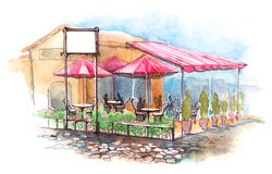 Cafe on terrace. Painting of outdoor cafe on terrace Stock Photography