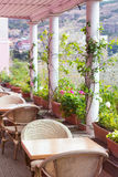 Cafe terrace. Pink cafe terrace decorate with flowers Royalty Free Stock Images