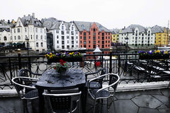Cafe Terrace on a Rainy Day, Alesund, Norway Stock Image