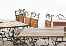 Cafe terrace with tables and chair Stock Photos