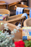 Cafe terrace with tables and chair Royalty Free Stock Image