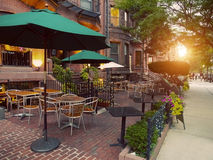 Cafe Terraces in Newbury Street, Boston, USA Stock Photography