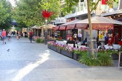 Cafe terraces and shops in Murray Street, Perth, Western Australia Stock Image