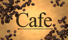 Cafe text Bean on Old Paper Royalty Free Stock Images