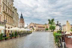 Cafe, Tower Hall and shopping arcade in the main square of Krako. W in Poland Stock Images