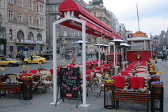 Cafe tram decorated for Easter holiday in Prague Royalty Free Stock Images