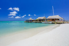 Cafe on tropical beach at Aruba stock photo