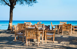 Cafe on a tropical beach stock photos