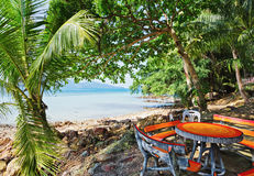 Cafe on tropical beach Stock Images