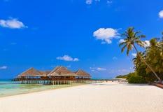 Cafe on tropical Maldives island Royalty Free Stock Photos