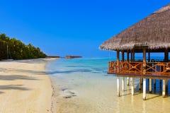 Cafe on tropical Maldives island Stock Image