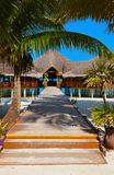 Cafe on tropical Maldives island Stock Image