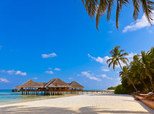 Cafe on tropical Maldives island Royalty Free Stock Images
