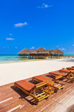 Cafe on tropical Maldives island Royalty Free Stock Photography