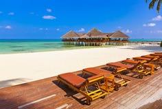 Cafe on tropical Maldives island Royalty Free Stock Image