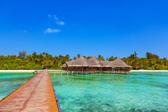 Cafe on tropical Maldives island Royalty Free Stock Photo
