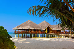 Cafe on tropical Maldives island Royalty Free Stock Photos