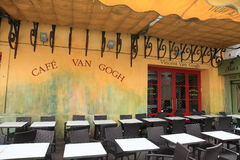 Cafe Van Gogh in Arles. Cafe Van Gogh:  This is the same Cafe Terrace that Vincent van Gogh painted in 1888 and is now a landmark tourist attraction Stock Images
