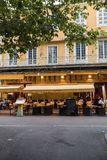 Cafe Van Gogh at Place du Forum in Arles. Provence, France. Arles, France - June 26, 2017: Cafe Van Gogh at Place du Forum in Arles. Provence, France. This is Royalty Free Stock Image