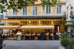 Cafe Van Gogh at Place du Forum in Arles. Provence, France. This is the same Cafe Terrace that Vincent van Gogh painted in 1888 and is now a landmark tourist Stock Photos