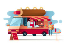 Cafe van hot dogs Stock Images