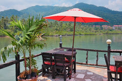 Cafe on the veranda in the fishing village of Bang Bao tropical Royalty Free Stock Images