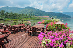 Cafe on the veranda in the fishing village of Bang Bao Stock Images